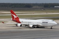 A Qantas 747 is pictured at Houston Intercontinental in May.  Photo:  Stephen Mosley Sr. - OPShots Contributor