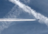 Crossing two older contrails, this US Air Force C-17A is helping make clouds where there were none.  The video shows an interesting 1980 perspective on the phemomena.  Photo:  Chuck Slusarczyk Jr. - OPShots.net