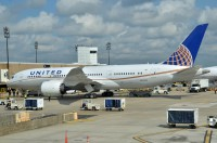 United's first 787 Dreamliner sits at the gate in Houston during it's proving runs last month.  Photo:  Doug McElroy - OPShots Contributor