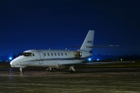 A nice Citation Sovereign spending the night at Akron Canton Airport in 2009.  Photo:  Gary Starcher - OPShots Contributor //