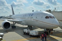 United's first 787 Dreamliner at a gate in Houston during proving runs earlier this year.  Photo:  Doug McElroy - OPShots Contributor