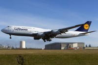 A brand-new 747-830 slated for Lufthansa lands after a test flight at Paine Field in January 2014.  Photo:  Andre Nordheim - OPShots Contributor